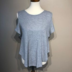Lovemarks Waffle Knit Cold Shoulder Top Size Small